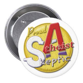 Botón escéptico ateo orgulloso pin redondo de 3 pulgadas
