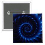 Botón espiral azul brillante del fractal pin cuadrado