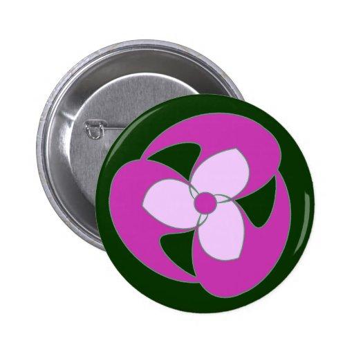Botón espiral creciente retro magenta de la flor pin
