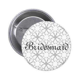 Botón estilizado de la dama de honor de la flor pin
