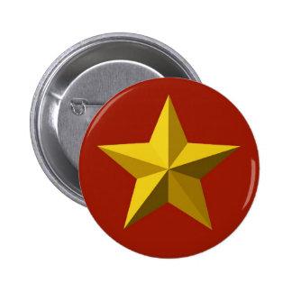 Botón - estrella del oro pin redondo de 2 pulgadas