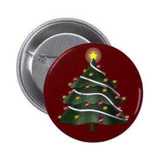 botón Estrella-rematado del árbol de navidad Pin Redondo De 2 Pulgadas