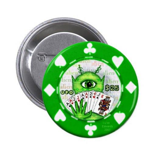 Botón extranjero de la ficha de póker pin redondo de 2 pulgadas