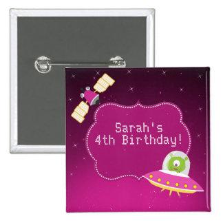 Botón extranjero del cumpleaños del chica del pin cuadrado