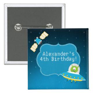 Botón extranjero del cumpleaños del muchacho del pin cuadrado