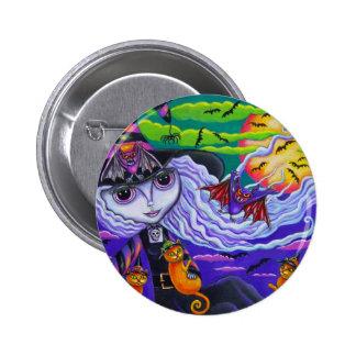 Botón extravagantemente de Halloween Pin Redondo De 2 Pulgadas