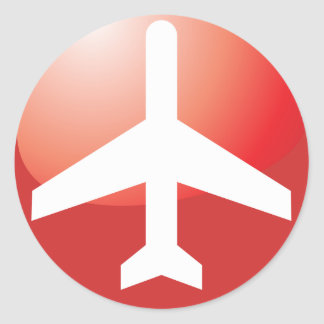 Botón fácil rojo del aeroplano pegatina redonda