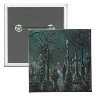 Botón fantasma del cementerio pin cuadrado