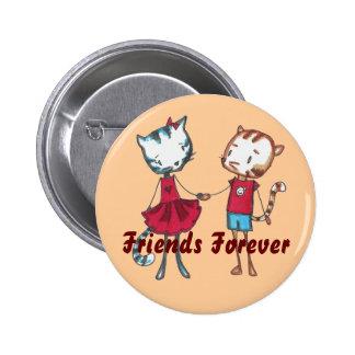 Botón felino de los amigos pin redondo de 2 pulgadas