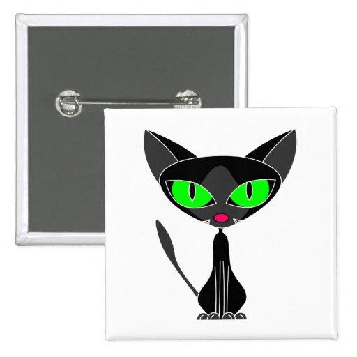 Botón felino de lujo del gato negro pin cuadrado