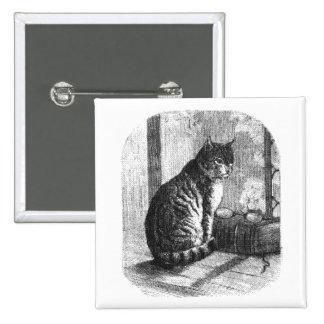 Botón felino del vintage pin cuadrado