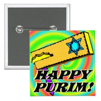 Botón feliz 1 de Purim Pin Cuadrado