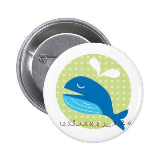 Botón feliz de la ballena pin redondo de 2 pulgadas