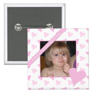 Botón feliz de la foto del día de San Valentín Pin Cuadrado