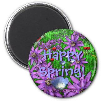 Botón feliz de la primavera imán redondo 5 cm