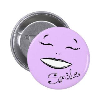 Botón feliz de la sonrisa en rosa pin redondo de 2 pulgadas