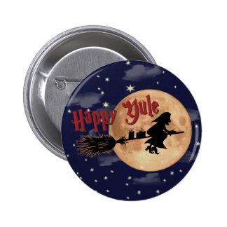 Botón feliz de Navidad de la bruja de Yule Pin Redondo De 2 Pulgadas