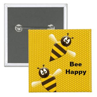Botón feliz del abejorro de la abeja pin