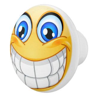 Botón feliz del cajón de la cara de la sonrisa pomo de cerámica