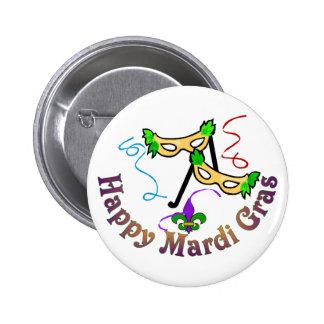 Botón feliz del carnaval pin redondo de 2 pulgadas