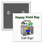 Botón feliz del cuadrado del equipo de radio-afici pin