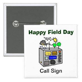 Botón feliz del cuadrado del equipo de radio-afici pin cuadrado