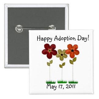 botón feliz del día de la adopción pin cuadrado