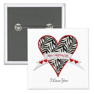 Botón feliz del día de San Valentín Pin Cuadrado