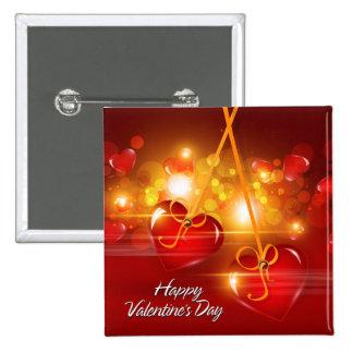 Botón feliz del el día de San Valentín 17 Pin Cuadrado