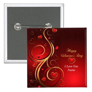 Botón feliz del el día de San Valentín 1 Pin Cuadrado