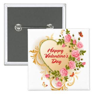 Botón feliz del el día de San Valentín 2 Pin Cuadrado