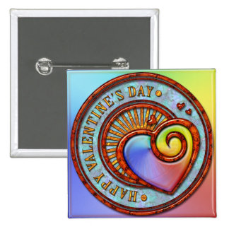 Botón feliz del el día de San Valentín 2A Pin Cuadrado