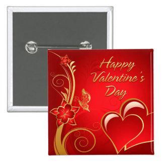 Botón feliz del el día de San Valentín 3 Pin Cuadrado