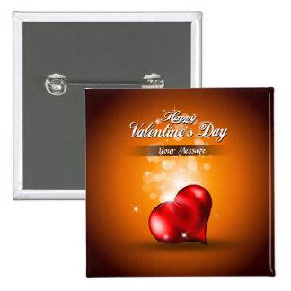 Botón feliz del el día de San Valentín 4 Pin Cuadrado