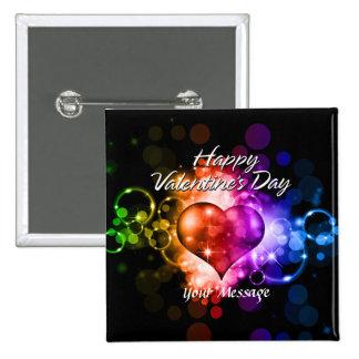 Botón feliz del el día de San Valentín 5 Pin Cuadrado