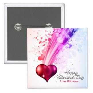 Botón feliz del el día de San Valentín 6 Pin Cuadrado