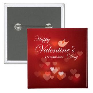 Botón feliz del el día de San Valentín 7 Pin Cuadrado