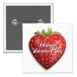 Botón feliz del el día de San Valentín 8 Pin Cuadrado