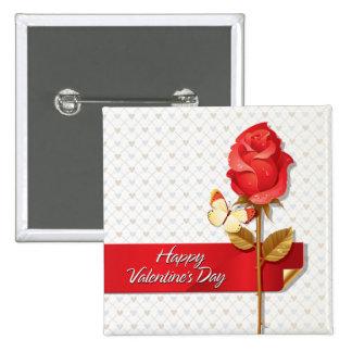 Botón feliz del el día de San Valentín 9 Pin Cuadrado