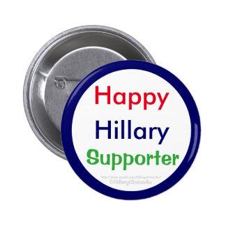 Botón feliz del partidario de Hillary por