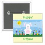 Botón feliz del Pin del cuadrado del conejo de con