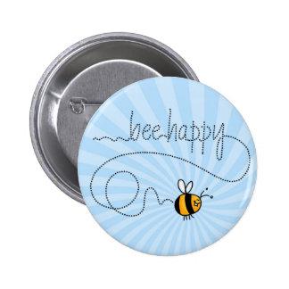 botón feliz del rastro de la abeja pin redondo de 2 pulgadas