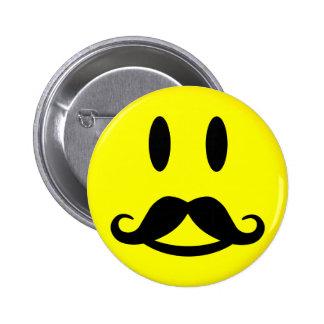 Botón feliz del smiley del bigote pins