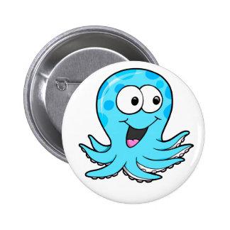 Botón feliz lindo del pulpo pin redondo de 2 pulgadas