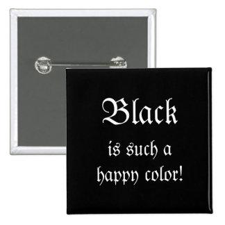 Botón feliz negro de Morticia Addams del color Pin Cuadrado
