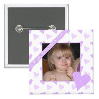 Botón feliz púrpura de la foto del día de San Pin Cuadrado