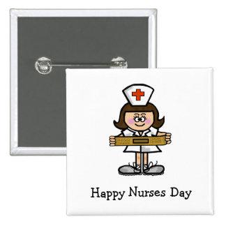 Botón femenino de la enfermera del día feliz de la pin cuadrado