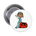 Botón femenino del terapeuta respiratorio pin