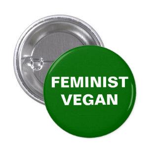 Botón feminista del vegano pin redondo de 1 pulgada