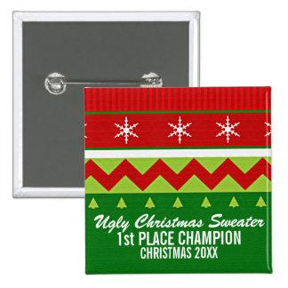 Botón feo del ganador del suéter del navidad pin cuadrado